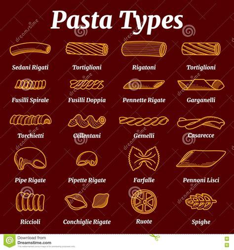 les noms des pates liste italienne traditionnelle de p 226 tes avec l ensemble de vecteur de noms illustration de