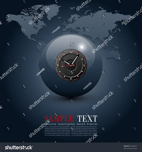 business background globe clock  world stock vector