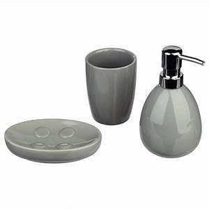 Set De Salle De Bain : set de 3 accessoires salle de bain gris ~ Teatrodelosmanantiales.com Idées de Décoration
