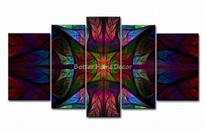 Piece wall art painting stained glass picture print on