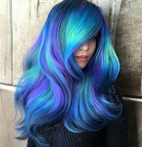 Coloured Hairstyles by Blue Teal Purple Colour Colored Coloured Color Hair Style