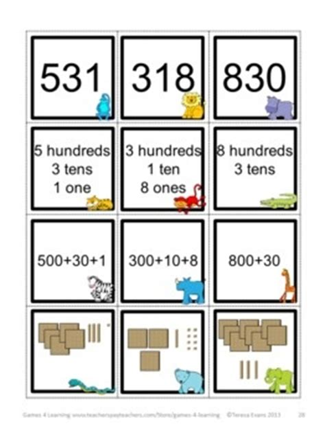 place  games  digit numbers hundreds tens