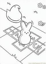 Coloring Pages Peeps Bunny Easter Hopscotch Colouring Marshmallow Printable sketch template