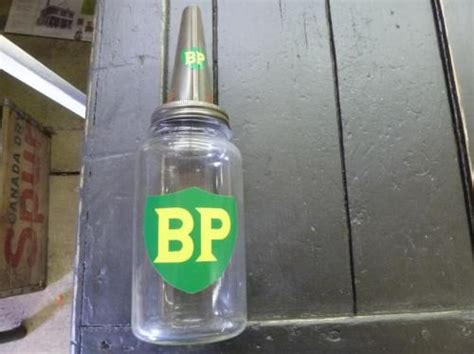 Vintage British Petroleum Bp Decorated Glass Motor Oil