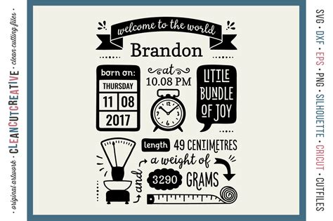 Caluya design's svg cut file & font downloads are 100% free for personal use. BIRTH STATS TEMPLATE - Baby Birth Announcement - SVG DXF ...