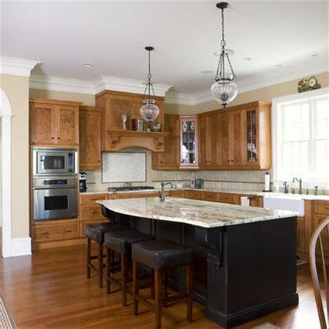 oak kitchen island with seating quot stained cabinets with black island quot color ideas for the 7133