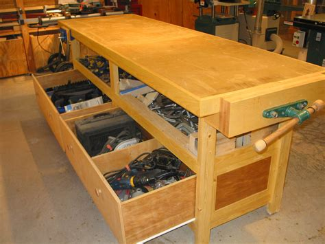 wood work workbench plans  drawers   build