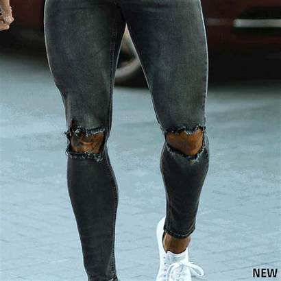 Ripped Jeans Slim Stretch Tapered Ultra Grey