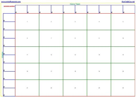 square football pool template printable  square