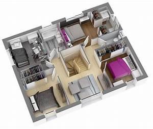 modeles et plans de maisons gt modele a etage ligne With marvelous plan 3d maison en ligne 0 plan maison 3 chambres 3d