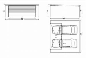 garage metallique toit plat crepis 2 voitures porte large With largeur porte garage double