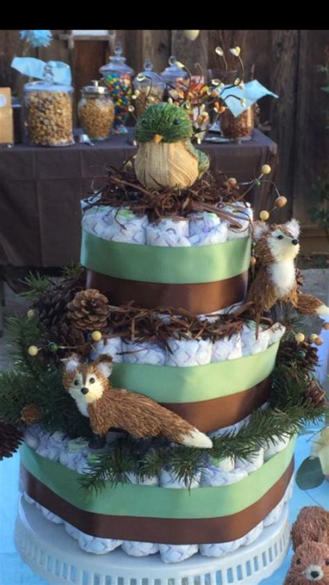 woodland diaper cake baby shower ideas baby shower