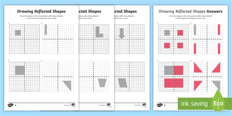 drawing reflected shapes   quadrants worksheet