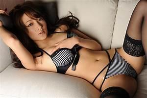 Wallpaper brunette, asian, lingerie, sofa desktop ...