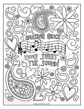 coloring page amazing grace hymn coloring page