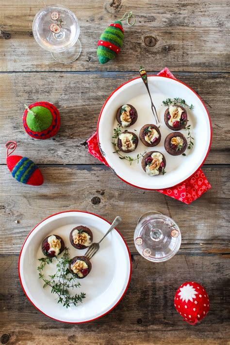 easy canapes to in advance festive brie cranberry stuffed mushrooms oliver