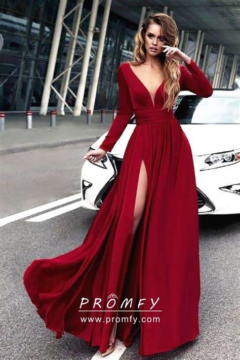 Crimson Red Satin Chiffon Long Sleeve Side Slit A Line