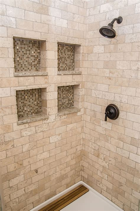 shower  tumbled marble  glass tiled