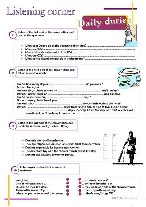 esl chores worksheets