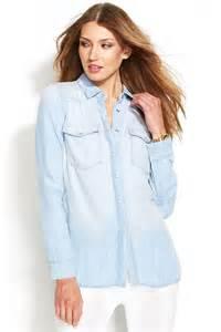 light blue blouse for women michael michael kors michl michl kors long sleeve chambray