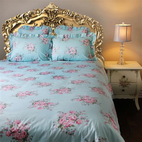 shabby chic cottage bedding shabby blue pink ruffle duvet cover florals bedding