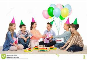Happy Children Giving Presents At Birthday Party Royalty ...