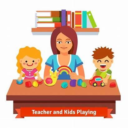Vector Preschool Teacher Learning Education Cartoon Kindergarten