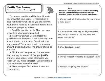 justify your answer 2nd grade reading comprehension