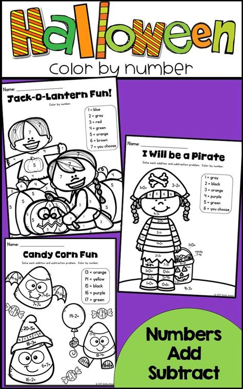 halloween color  number differentiated numbers add