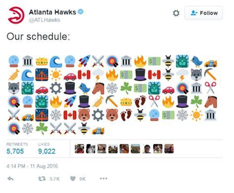 atlanta hawks emoji schedule  confusing af ny