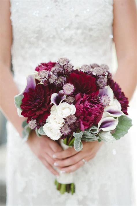 Deep Red And White Winter Wedding Bouquet Tulle