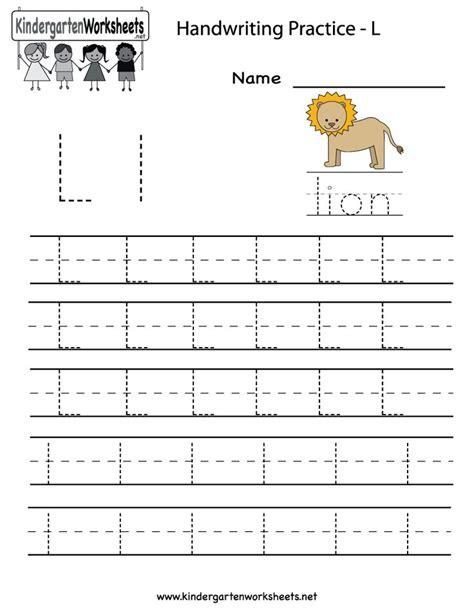 kindergarten letter l writing practice worksheet printable writing practice worksheets