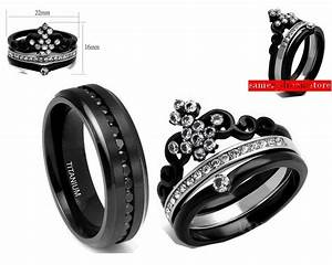 his black cz titanium and her black crown stainless steel With crown wedding rings for her