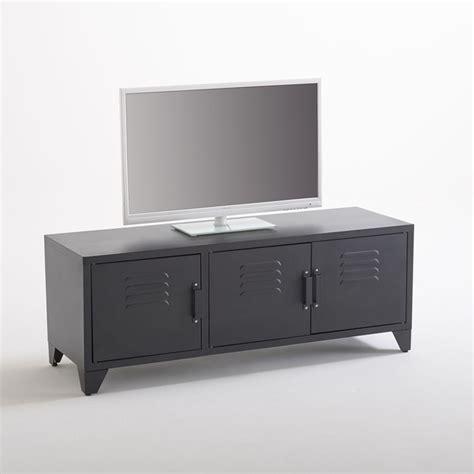 meuble tv style indus 3 portes noir mat hiba noir la redoute interieurs la redoute