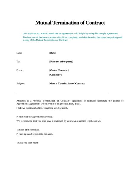 termination of employment contract template termination of contract free