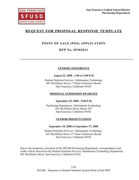 rfp response template sns pos system rfp response template