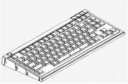 Computer Coloring Printable Parts Pages Clipart Keyboard