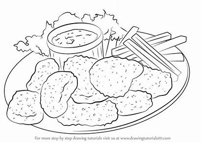 Chicken Nuggets Drawing Draw Snacks Pages Step