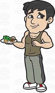 A Man Eating A Healthy Plate Of Salad Cartoon Clipart ...