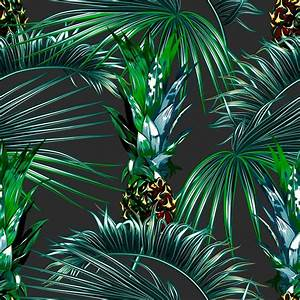 Tropical palm leaves seamless vector floral pattern ...