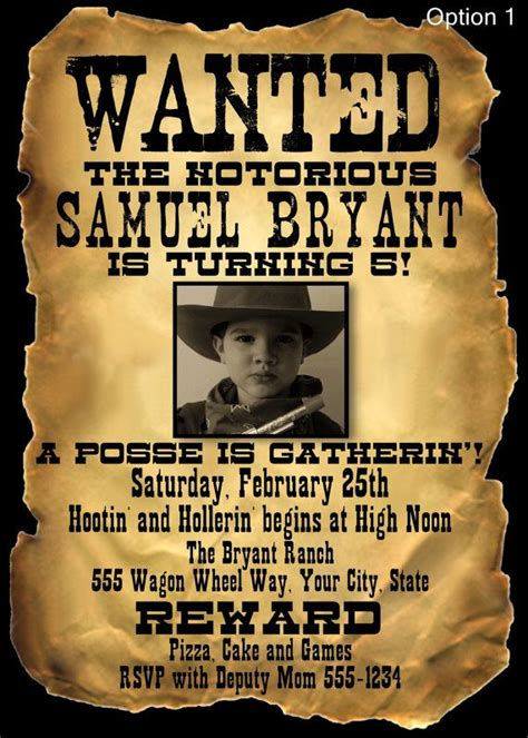 wanted poster style birthday invitation