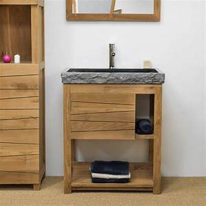 Meuble sous vasque simple vasque en bois teck massif for Salle de bain design avec meuble sous vasque bois castorama