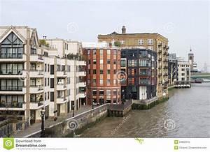 Apartment Blocks On River Thames. London. England Stock ...