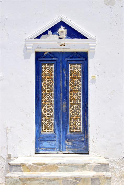 blue door  santorini greece architecture