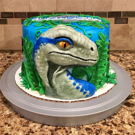 cake   featuring blue  velociraptor