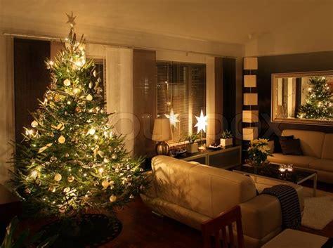 Christmas Tree In Modern Living Room