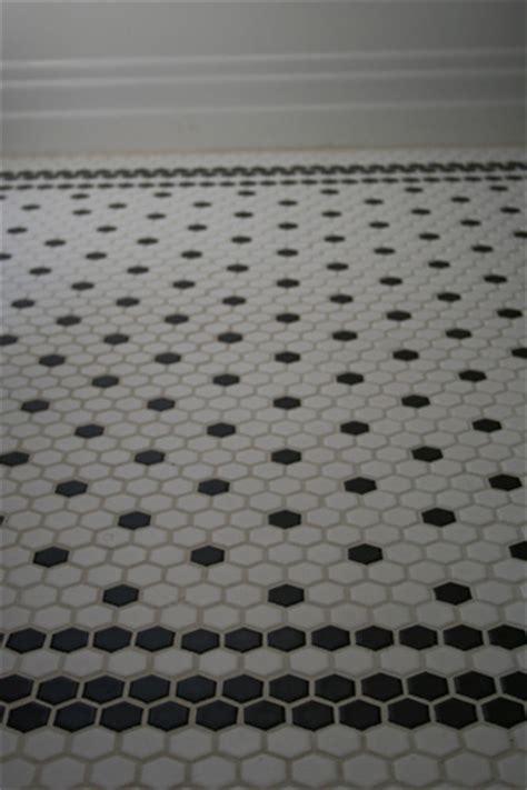 Black And White Hexagon Tile Bathroom Interior Bliss Design Details