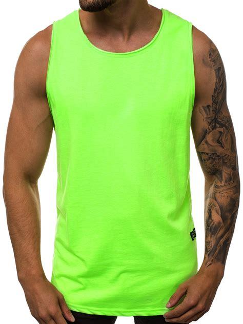 Vīriešu T-krekls bez piedurknēm zaļi-neona OZONEE O/1205X ...