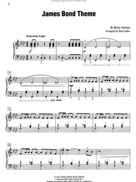 007 james bond theme song piano music printables