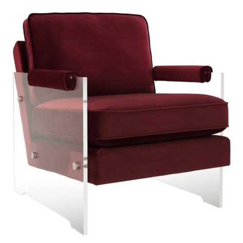 Floating Red Wine Velvet Acrylic Arm Accent Chair